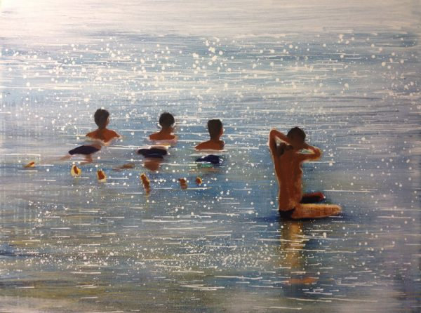 children-on-the-beach-izik-lambez-2014-acrylic-on-canvas130-100-cm
