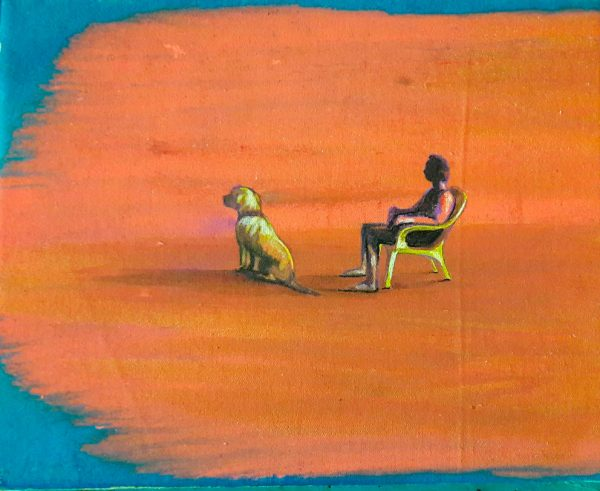 man-and-dog-on-the-beach-izik-lambez-2017-acrylic-on-canvas-30-24-cm