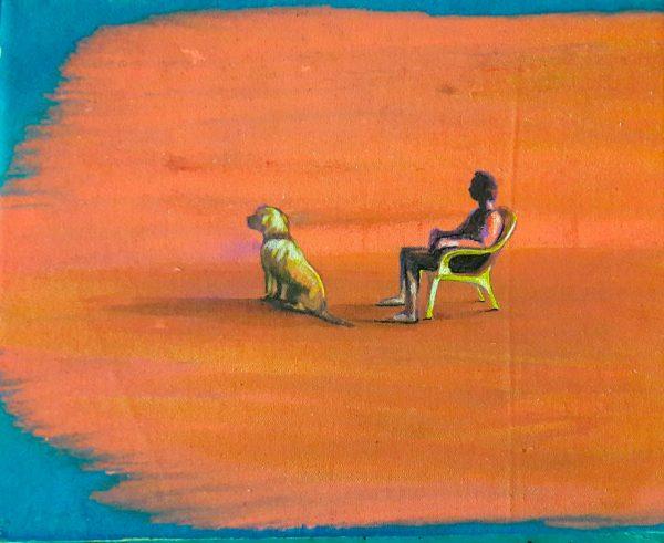 man-and-dog-on-the-beach-izik-lambez-2017-acrylic-on-canvas-30-24-cm