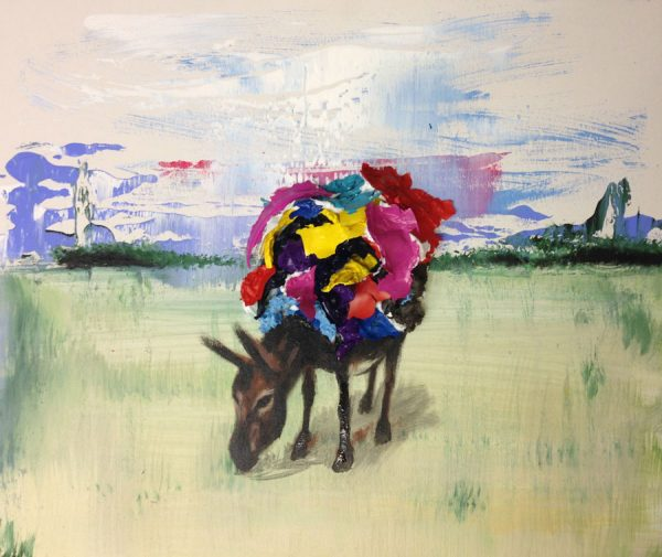 donkey-in-a-field-izik-lambez-2014-acrylic-on-canvas-50-60-cm