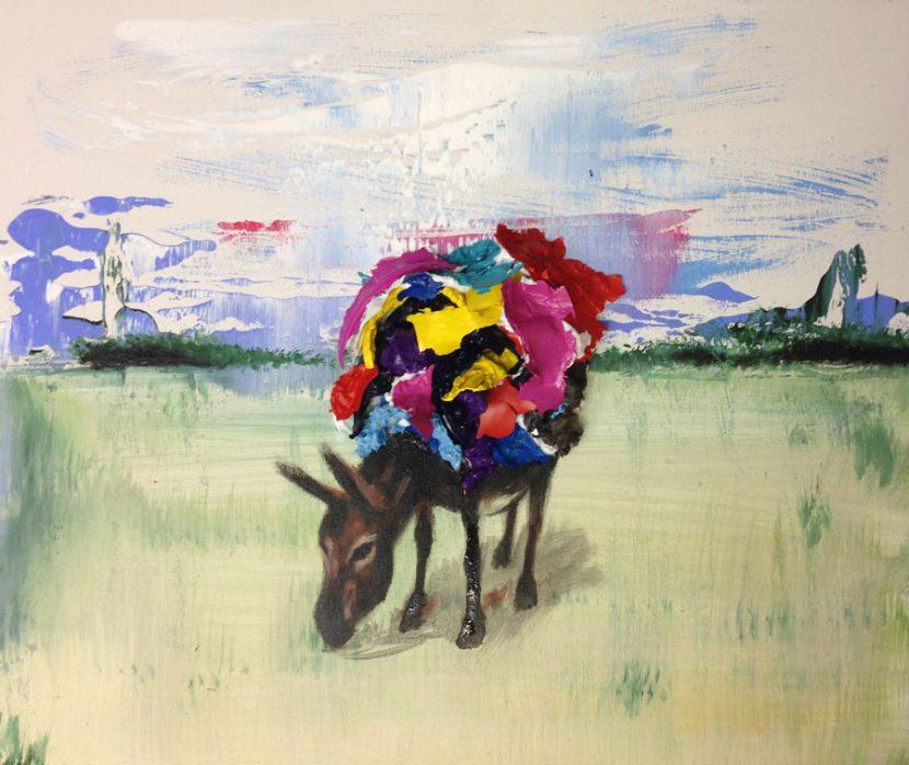 donkey-in-a-field-izik-lambez-2014-acrylic-on-canvas-50-60-cm