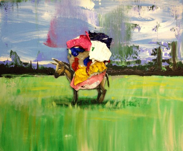 donkey-in-a-filed-izik-lambez-2014-acrylic-on-canvas-50-60-cm