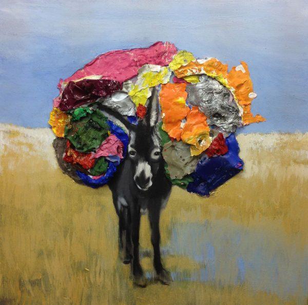 donkey-with-load-izik-lambez-2014-acrylic-on-canvas-60-60-cm