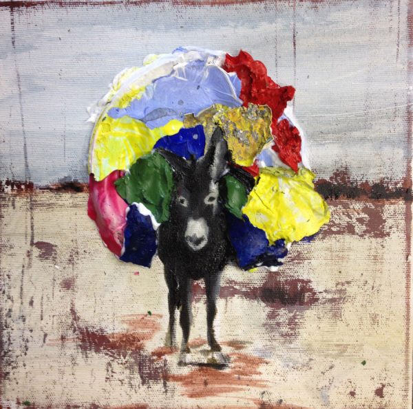 donkey-with-load-izik-lambez-2015-acrylic-on-canvas-25-25-cm