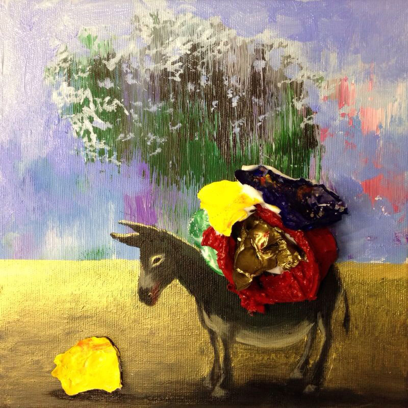 donkey-with-yelow-izik-lambez-2014-acrylic-on-canvas-30-30-cm