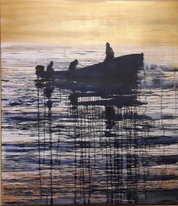 fishermen-in-golden-sea-izik-lambez-2017-acrylic-on-canvas-180-150-cm