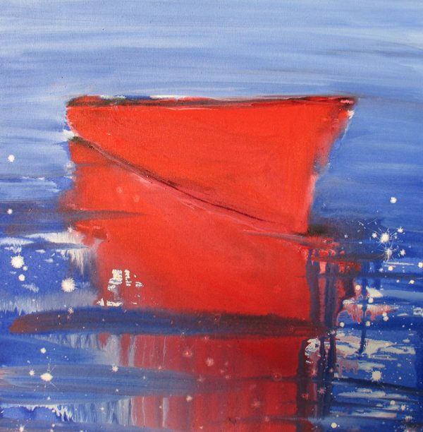red-boat-izik-lambez-2011-acrylic-on-canvas-50-50-cm