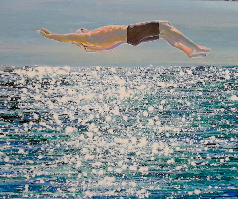 the-swimer-izik-lambez-2017-acrylic-on-canvas-60-50-cm