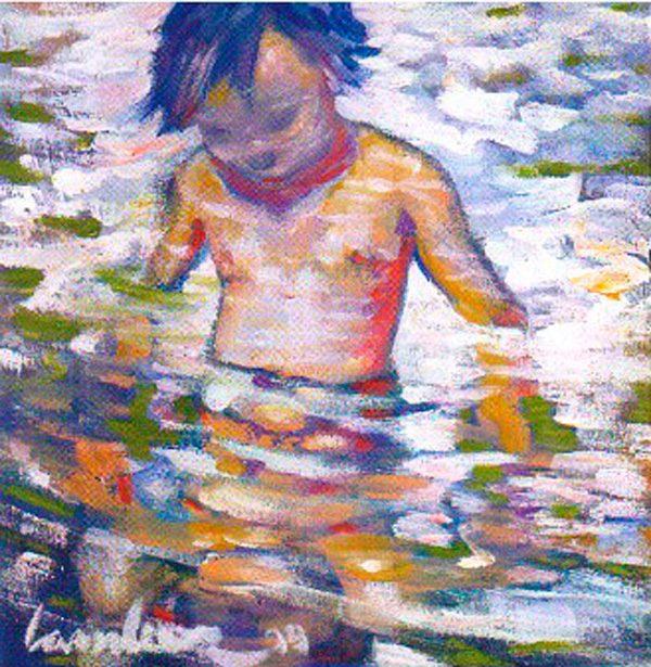 zoe-in-the-water-izik-lambez-2000-acrylic-on-canvas-40-40-cm