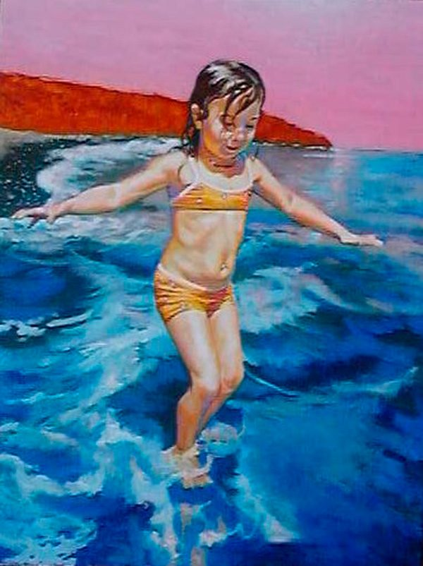 zoe-on-the-beach-izik-lambez-2004-acrylic-on-canvas-80-60-cm